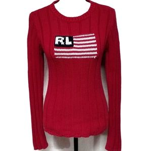 Vintage Polo RL Red American Flag Chunky Sweater